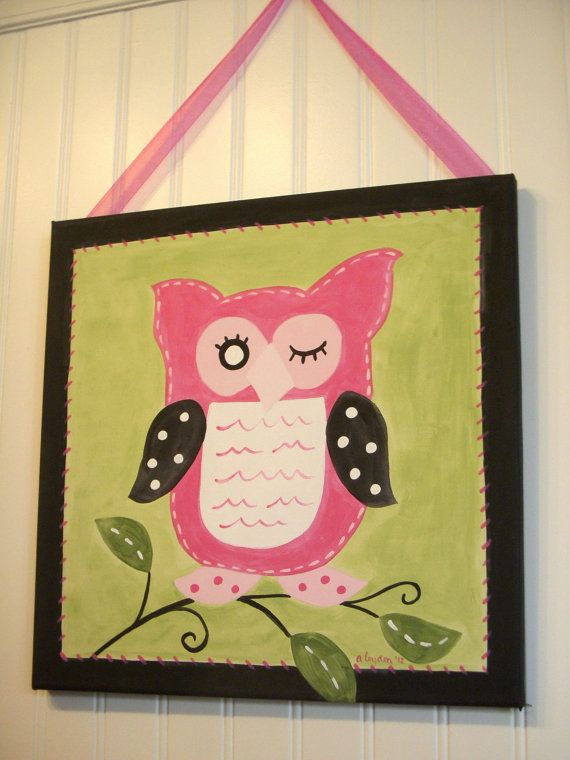 Owl canvas painting 12 x 12 Original hand painted Girls room decor ...