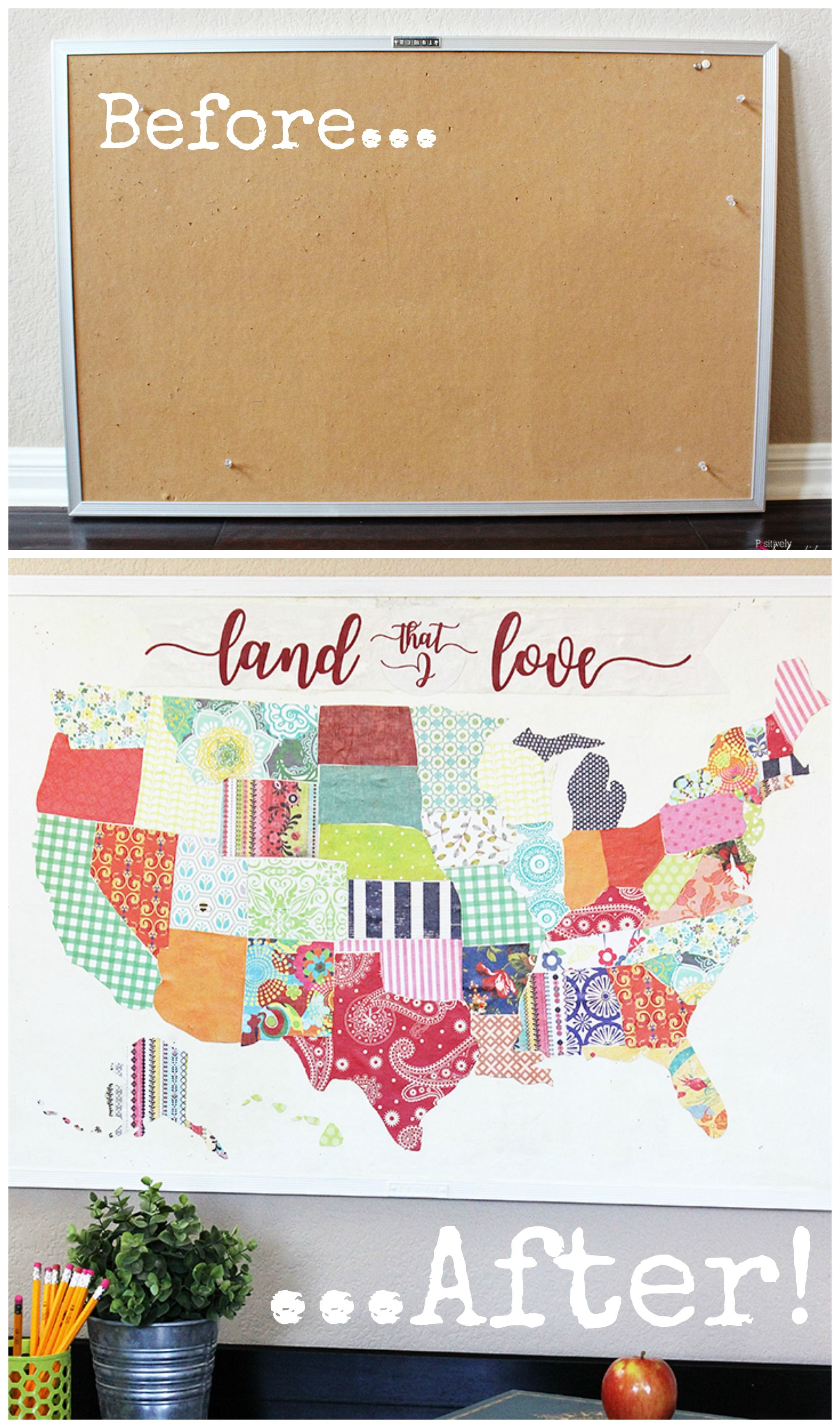 United States Map Mod Podge Bulletin Board A Fun Upcycle Project - Map of the united states cork board