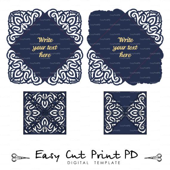 Lace Wedding Invitation Card Template Four-fold Envelope