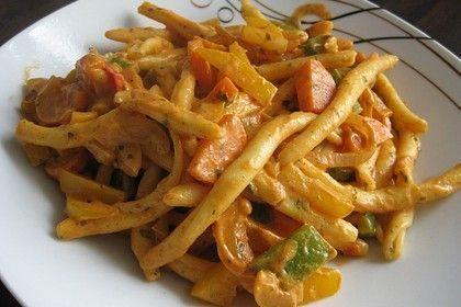 Scharfe Nudeln mit Gemüse - kochen -