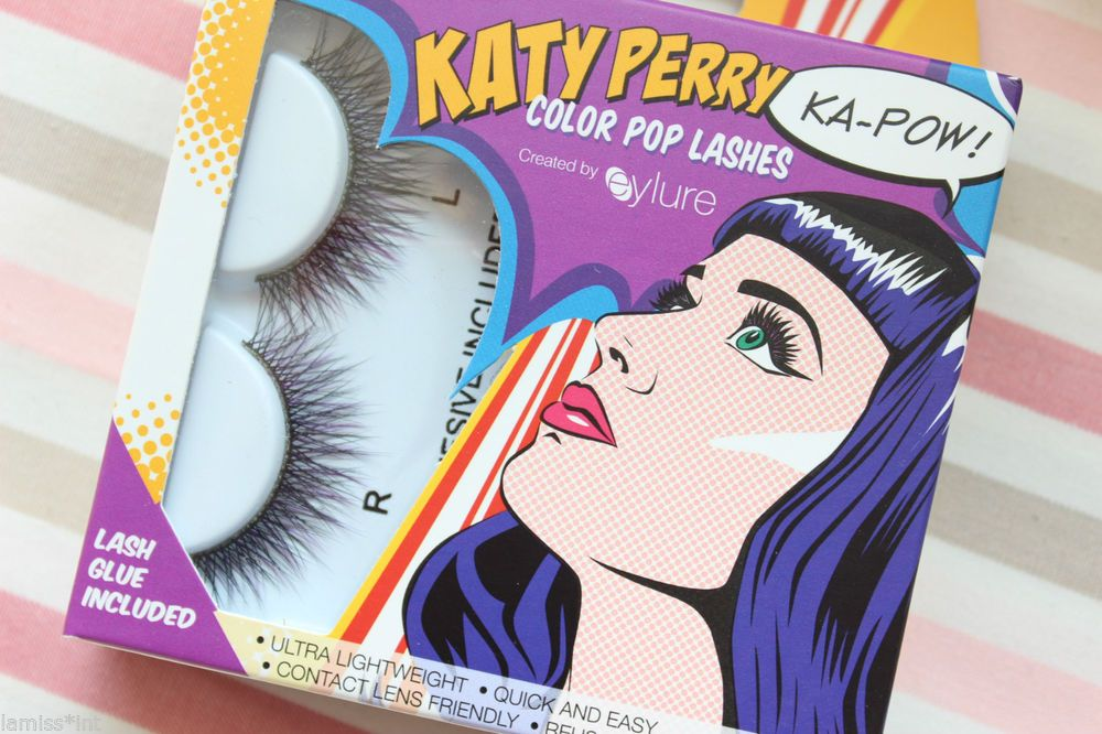 Katy Perry *Ka-Pow!* Eylure lashes falsche Wimpern schwarz/lila +Wimpernkleber