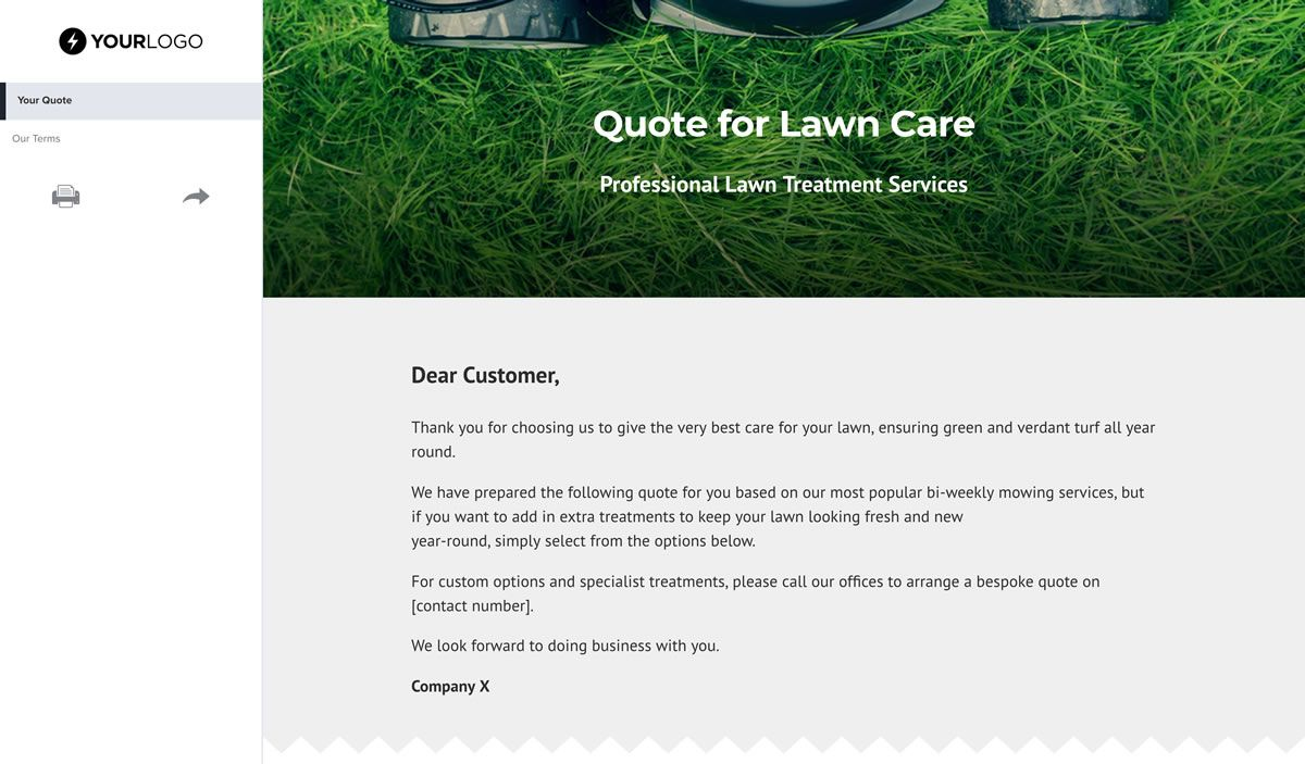 Free Lawn Care Quote Template Better Proposals With Lawn Care Business Cards Templat Lawn Care Business Lawn Care Business Cards Free Business Card Templates