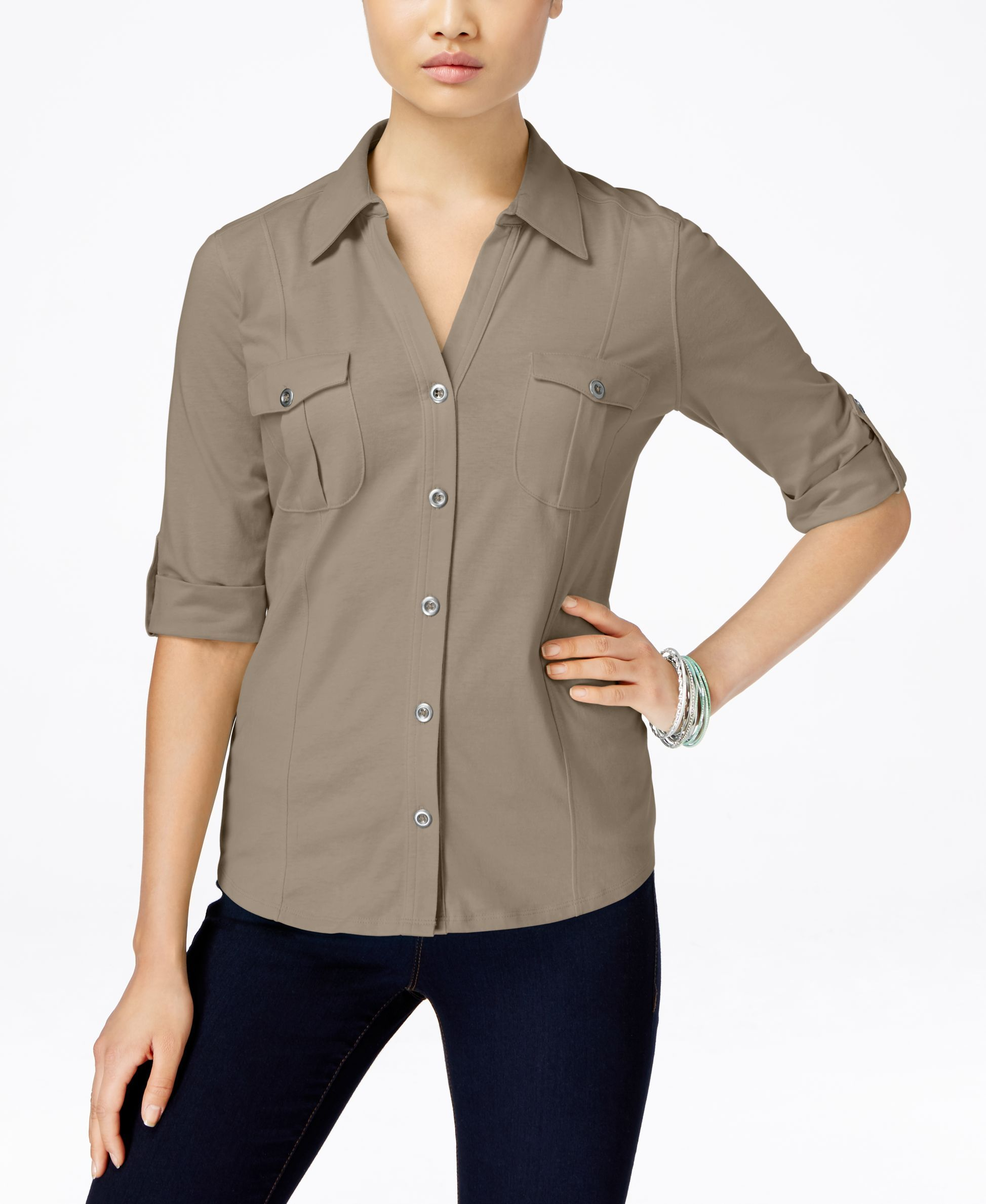 Style & Co. Roll-Tab Button Down Shirt, Only at Macy's