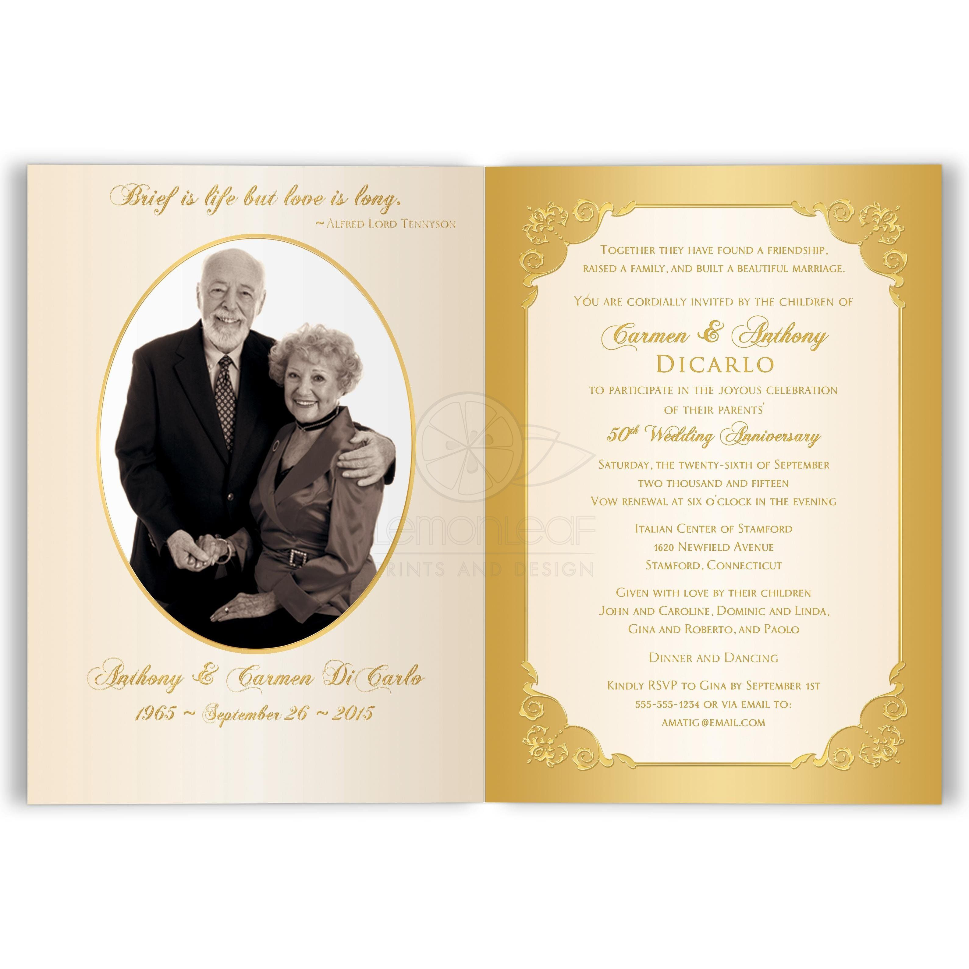 50th Wedding Anniversary Invitation Double Photo Ivory Gold Floral Printed Bow Wedding Anniversary Invitations Golden Wedding Anniversary Card Anniversary Invitations