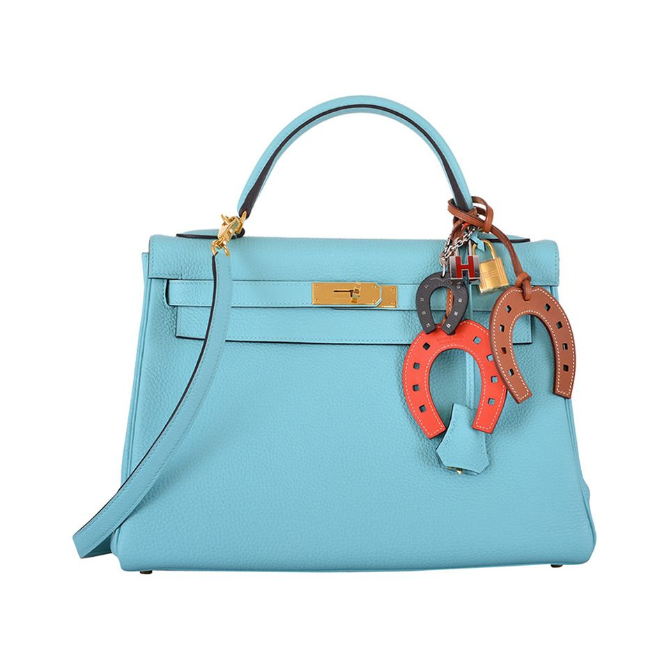 386aa909e448 NEW COLOR Bag HERMES KELLY BAG BLUE BLEU ATOLL TOGO GOLD HARDWARE ...