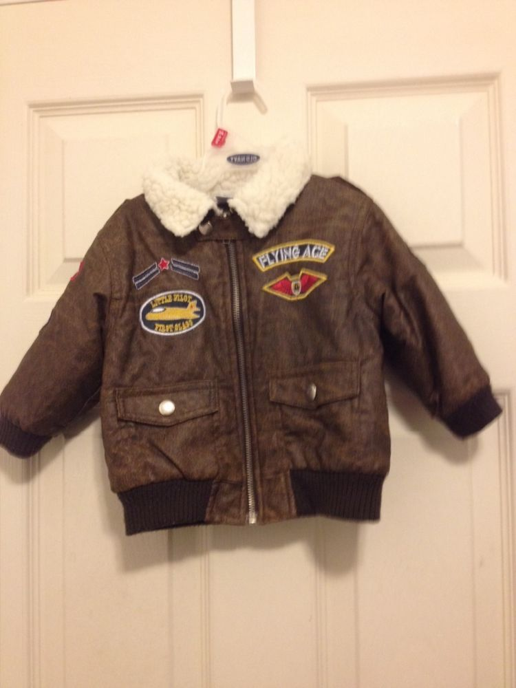95593a457a29 Baby boy s size 12 months brown bomber jacket faux leather patches ...