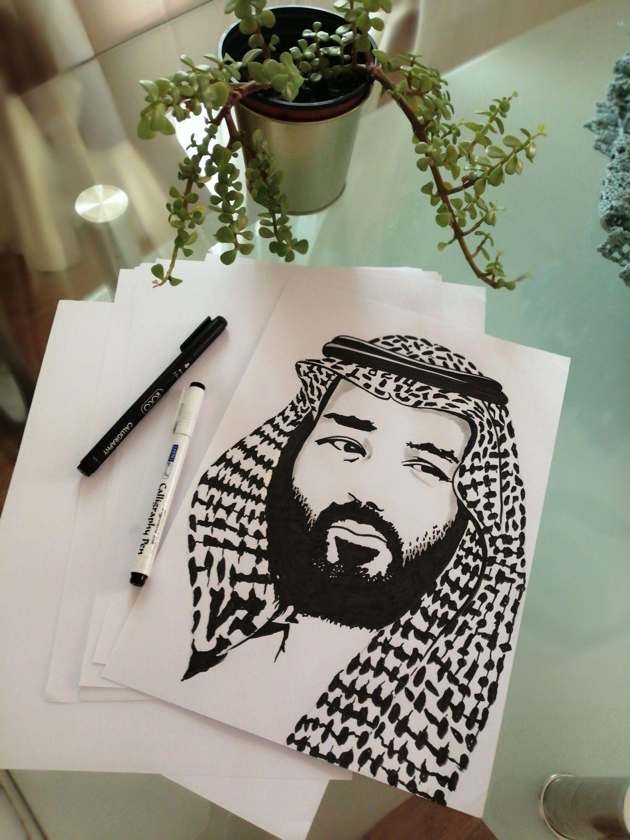 رسم بورتريه بالقلم الاسود