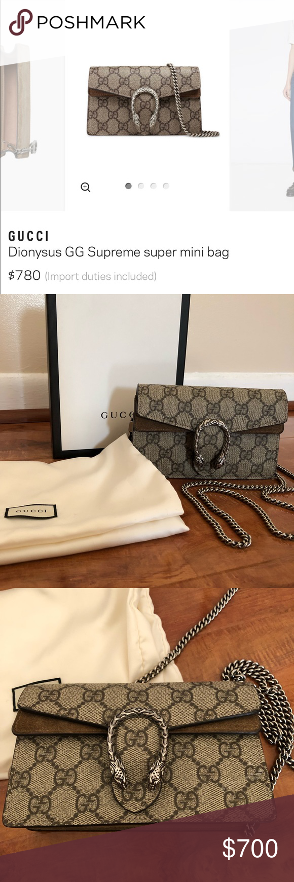 48c34bf042 Used 3x Gucci supreme super mini Bag Authentic Gucci mini Dionysus Bag.  Bought from Gucci store this summer. Used 3x. Comes with box and dustbag Gucci  Bags ...