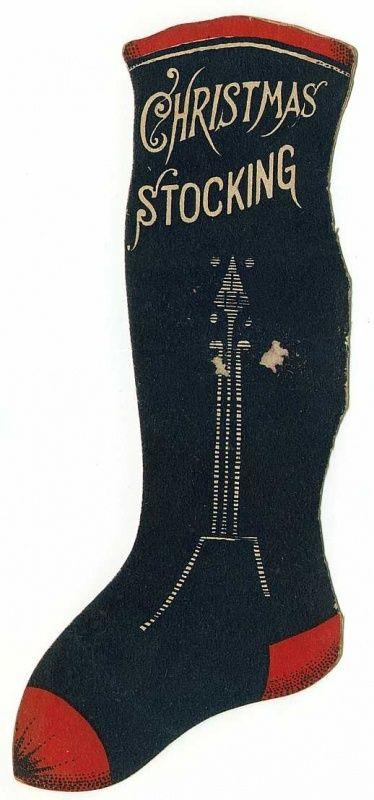 Victorian Christmas Stockings.Victorian Christmas Stocking Ephemera Vintage Christmas