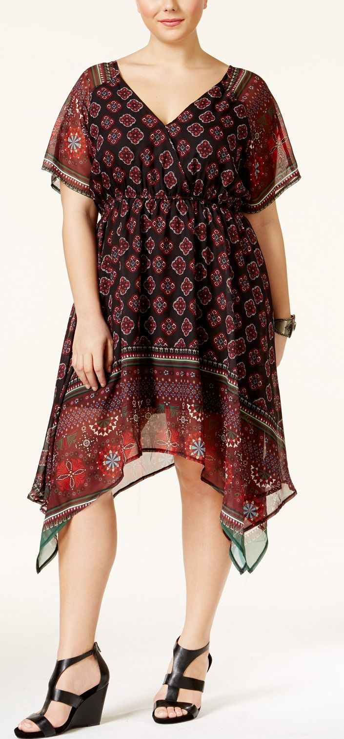 Plus Size Printed Empire-Waist Dress