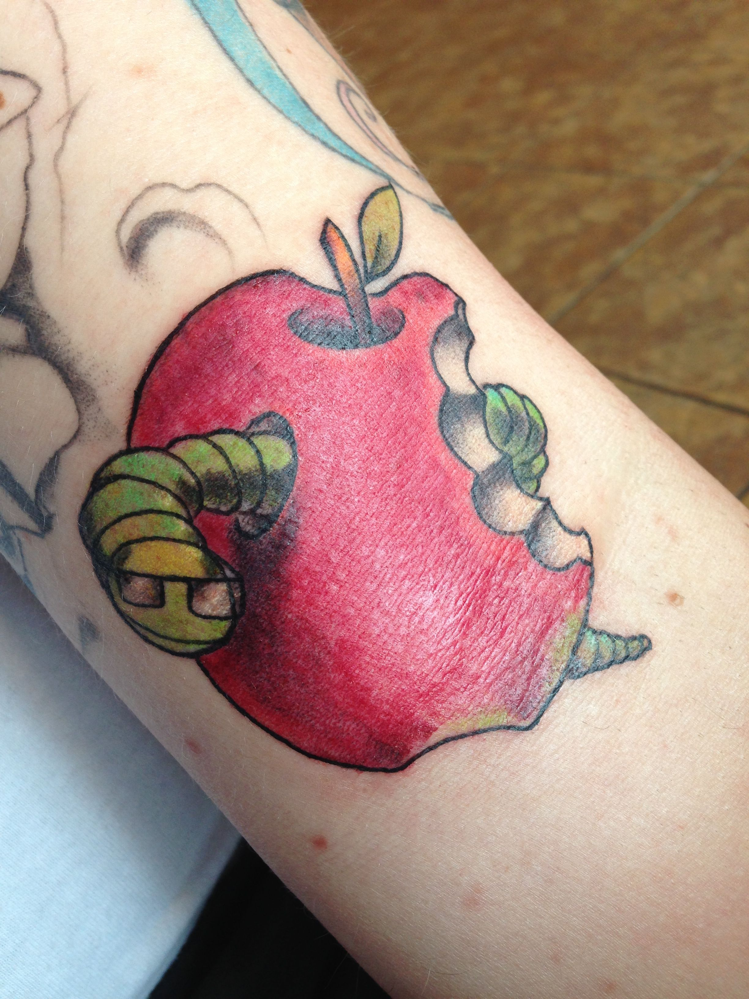 Apple Tattoo With Book Worm What About A Similar One But With