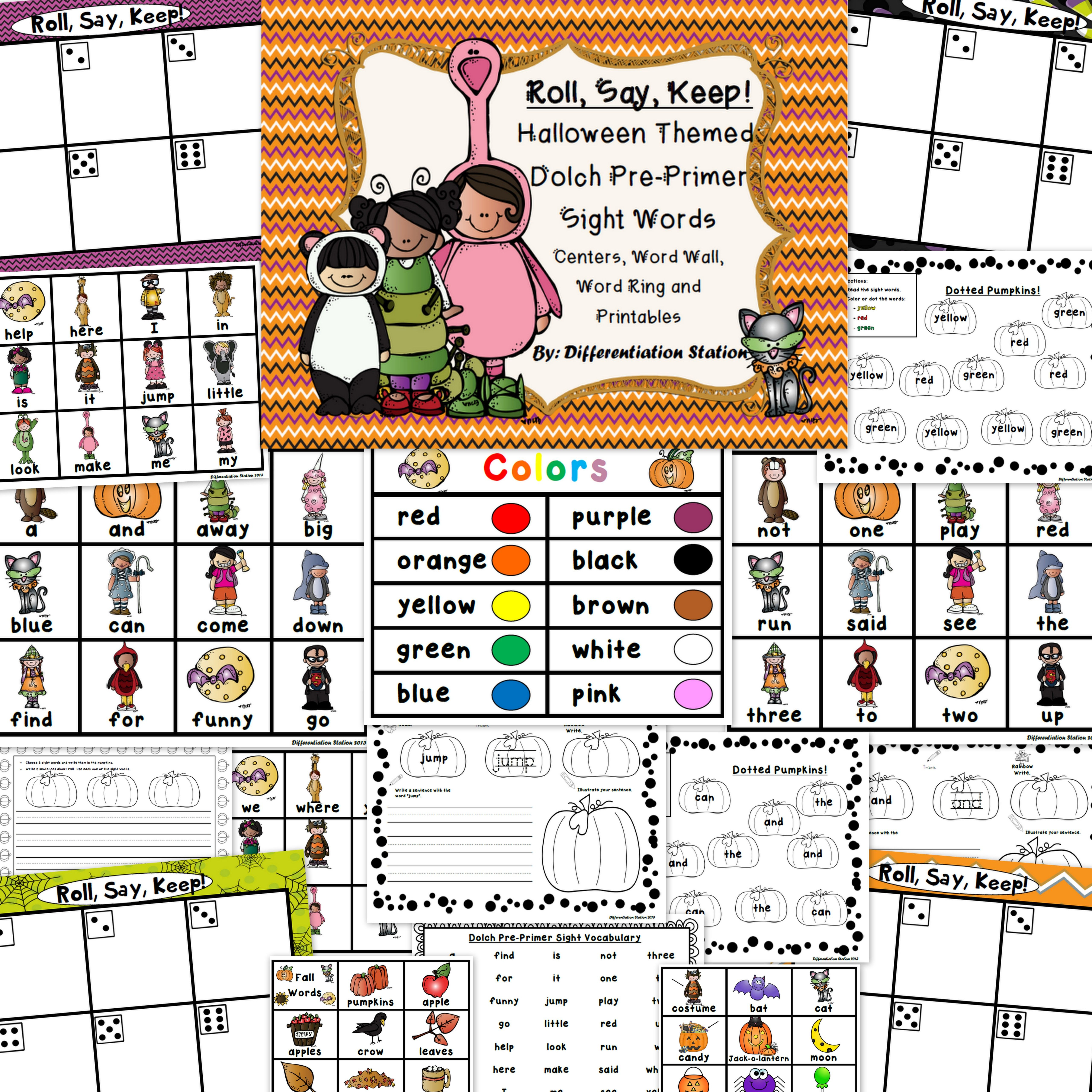 Halloween Roll Say Keep Pre Primer Dolch Sight Words Center Extra