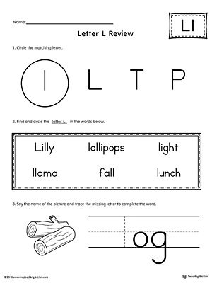 Learning The Letter L Worksheet With Images Letter T