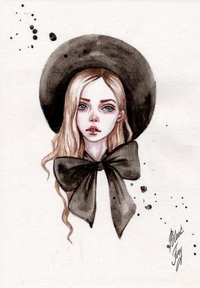 Girl in a hat by BlackFurya on DeviantArt #wasserfarbenkunst