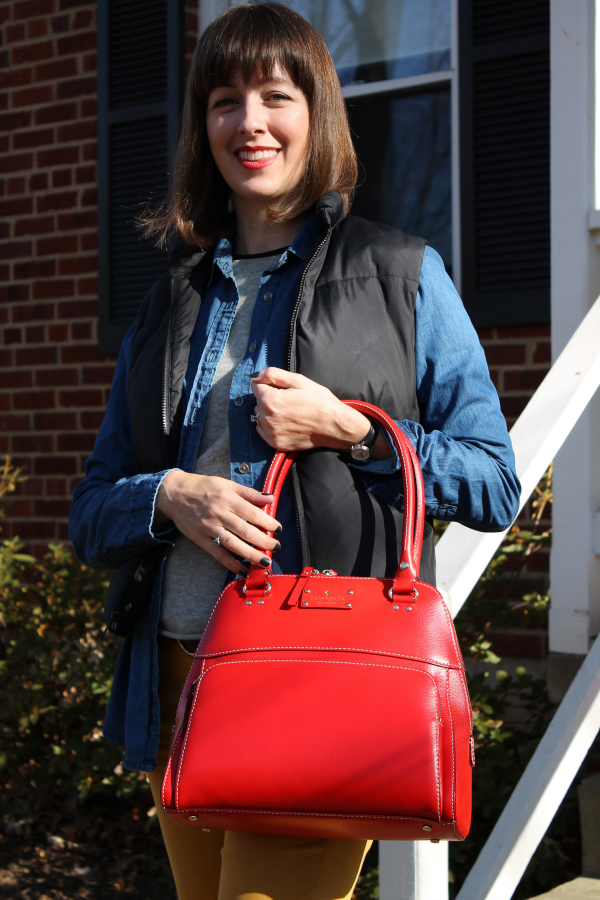 A bright red leather tote, like this Kate Spade Wellesley Small ...
