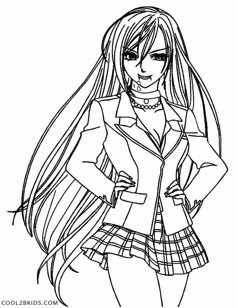 Printable Vampire Coloring Pages For Kids Cool2bkids Chibi Coloring Pages Cute Anime Chibi Rosario Vampire Anime