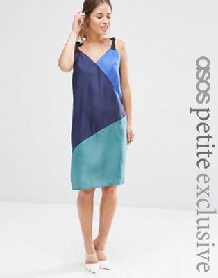 ASOS PETITE Colourblock Slip Dress in Silk