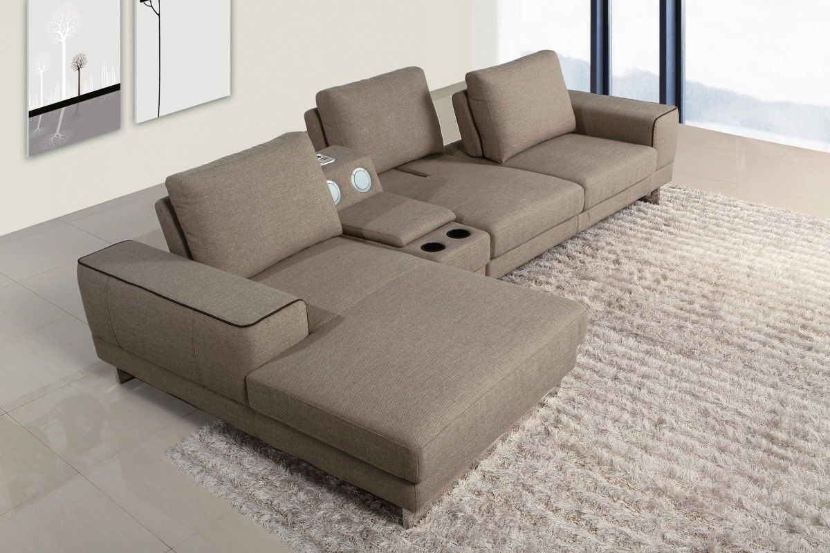 Gatsby Modern Fabric Sectional Sofa W Beverage Console And