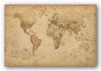 Amazon 24x36 world map vintage style art poster print amazon 24x36 world map vintage style art poster print gumiabroncs Gallery