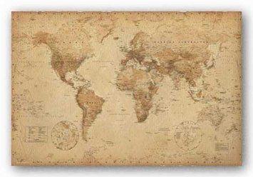 Amazon 24x36 world map vintage style art poster print home amazon 24x36 world map vintage style art poster print gumiabroncs Choice Image