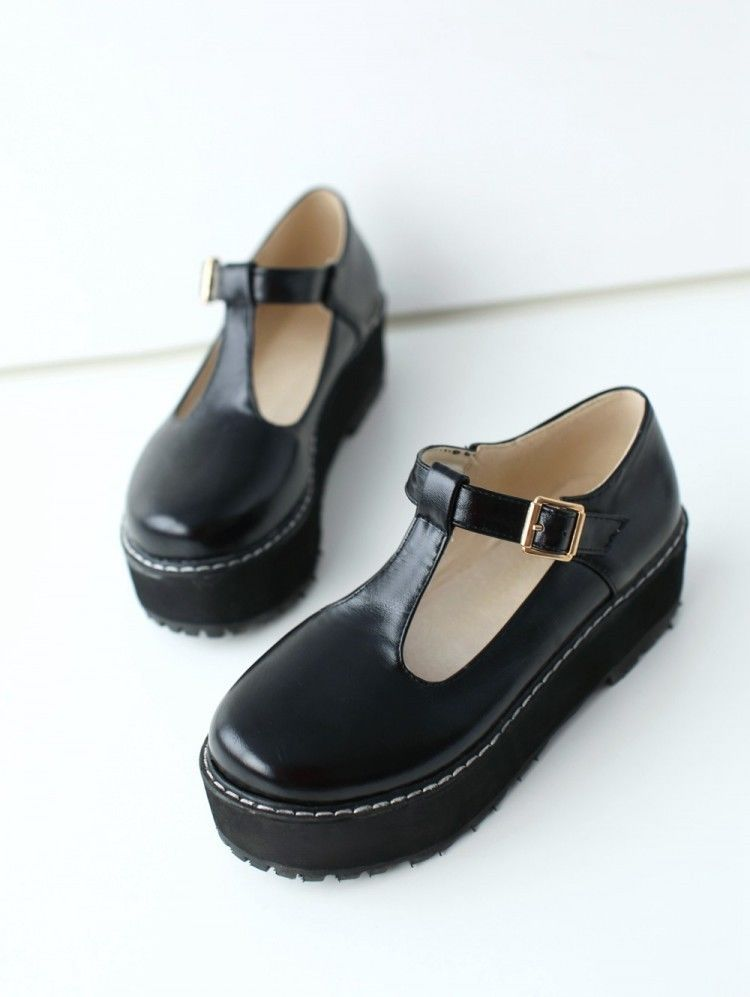 0ca00d118ecb0 New Womens Mary Janes T-Strappy Creeper Preppy Girls Goth Platform Oxford  Shoes