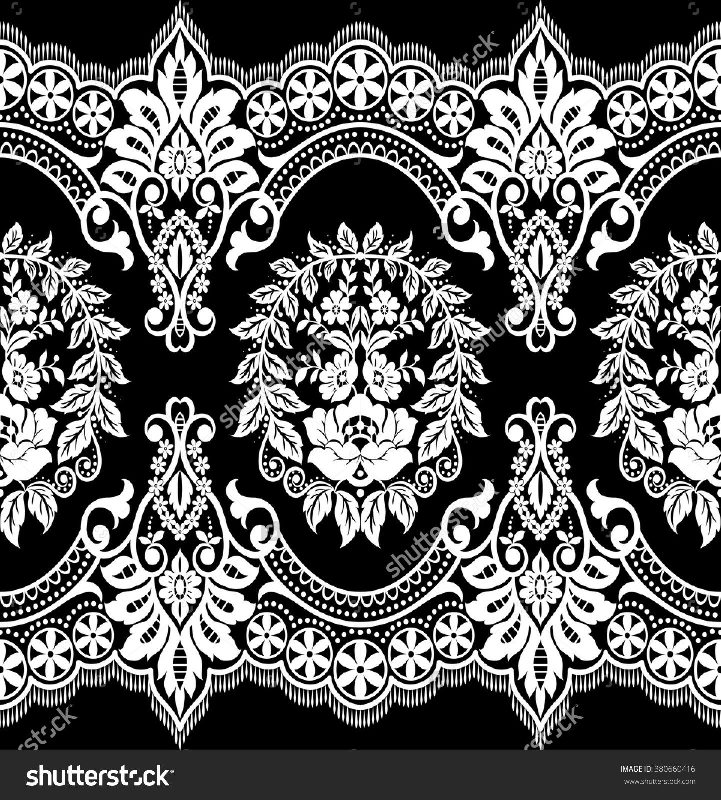 Black Flower Rose From Lace On White Background: Seamless Lace Pattern, Flower Vintage Vector Background