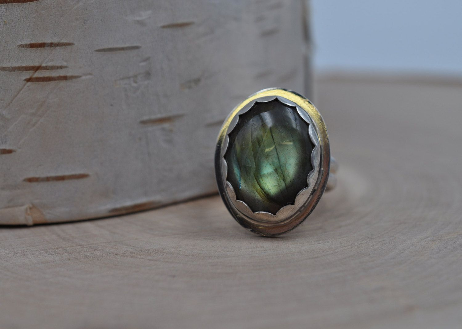 Simple Labradorite Ring with a Bright Green Flash set in Sterling Silver, Size 7 R0018 by TranquilSkyJewelry on Etsy