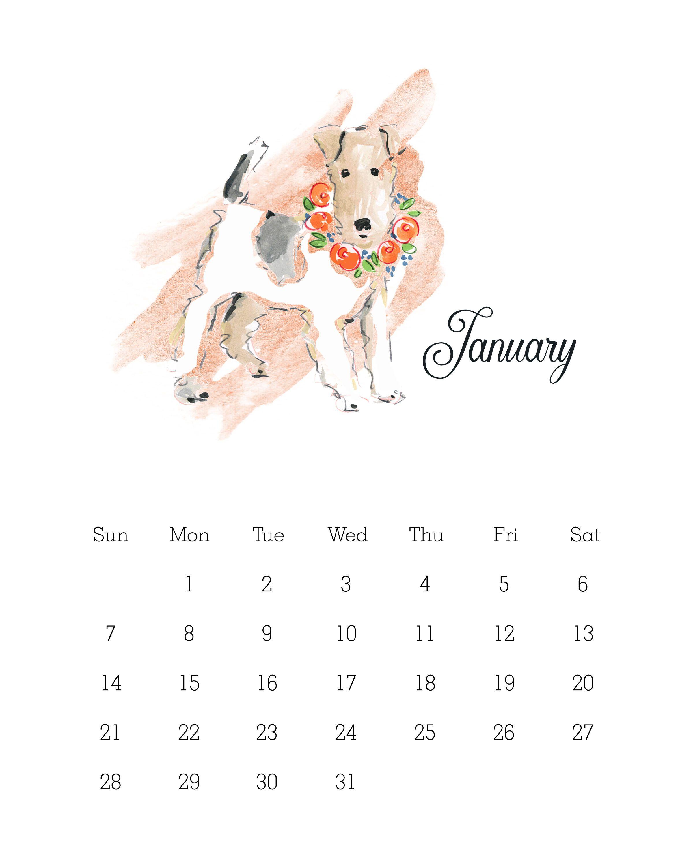 Free Printable Watercolor Dog Calendar