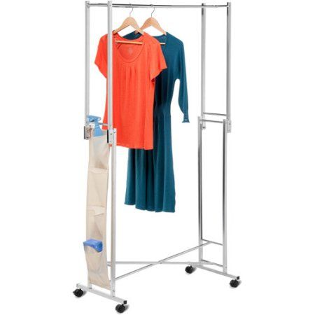 Walmart Clothes Hanger Rack Pleasing Honey Can Do Steel Double Folding Square Tube Garment Rack Chrome Decorating Design