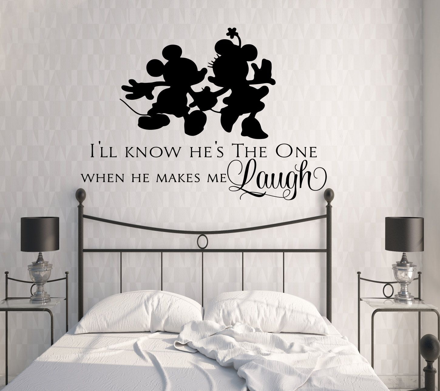 what is mickey without minnie disney vinyl wall decal quote decor i ll know he s the one when he makes me laugh love mickey minnie vinyl wall quote decal