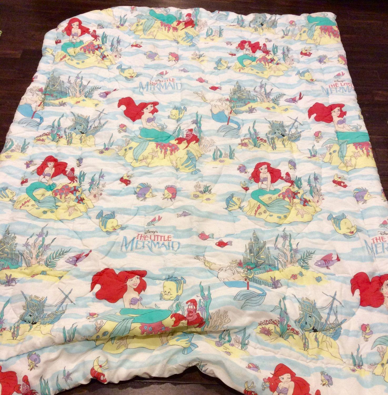 vintage disney's little mermaid twin size bedding blanket, disney