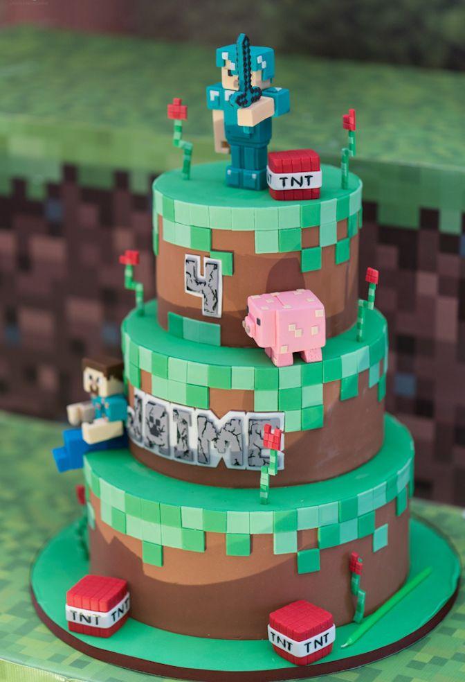 Bolo Minecraft: 60 Ideias com Fotos e Passo a Passo Fácil ...