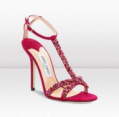 #Jimmy Choo TAYN Raspberry Shimmer Suede Crystal Sandals