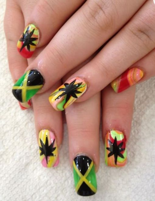 Jamaican nail design pretty awesome :) | ✮Get Your Nails Did ...