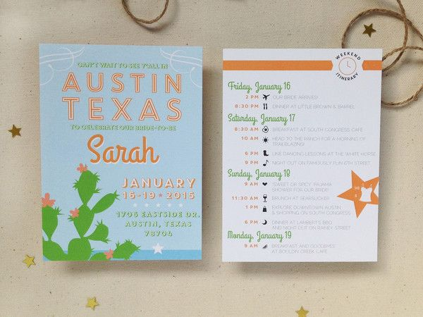 Austin Texas Bachelorette Invitation Itinerary All Things Paper