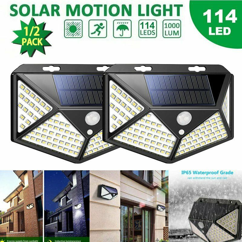 1 2 Pcs 114 Led Solar Power Pir Motion Sensor Wall Light Outdoor Lam Solar Lamp Solarlamp Solar 1 Solar Motion Lights Solar Lamp Solar Powered Lights