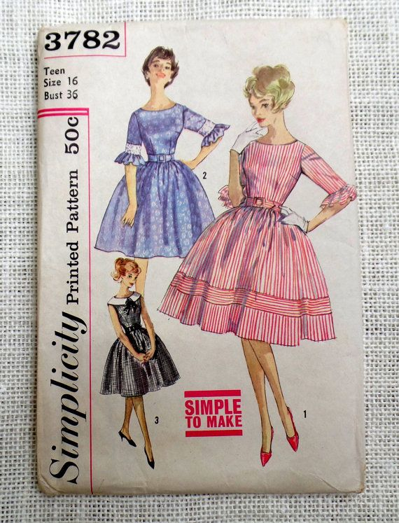 Vintage Pattern 1950s 1960 Butterick 3782 Bust 36 Dress Rockabilly ...
