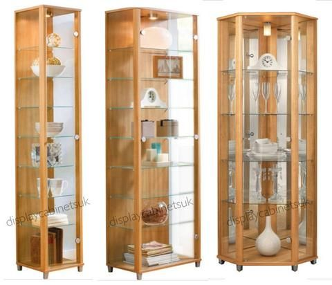 Oak Glass Display Cabinets Single Double Or Corner Display Cabinets Uk Corner Display Cabinet Glass Cabinets Display Display Cabinet