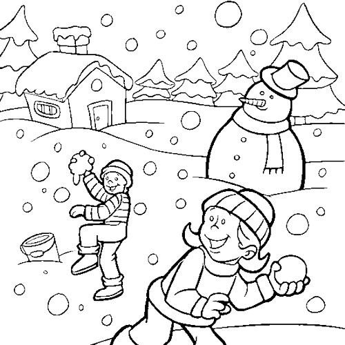 Children Playing Snow In Winter Coloring Page Coloring Pages