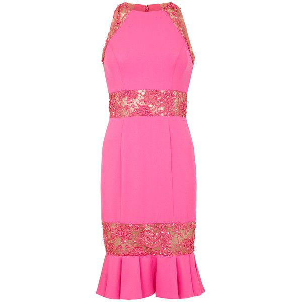PAM Hot Pink Dropped Waist Pencil Dress (1.690 RON) ❤ liked on Polyvore featuring dresses, hot pink prom dresses, cocktail prom dress, drop-waist dresses, pink pencil dress and hot pink pencil dress