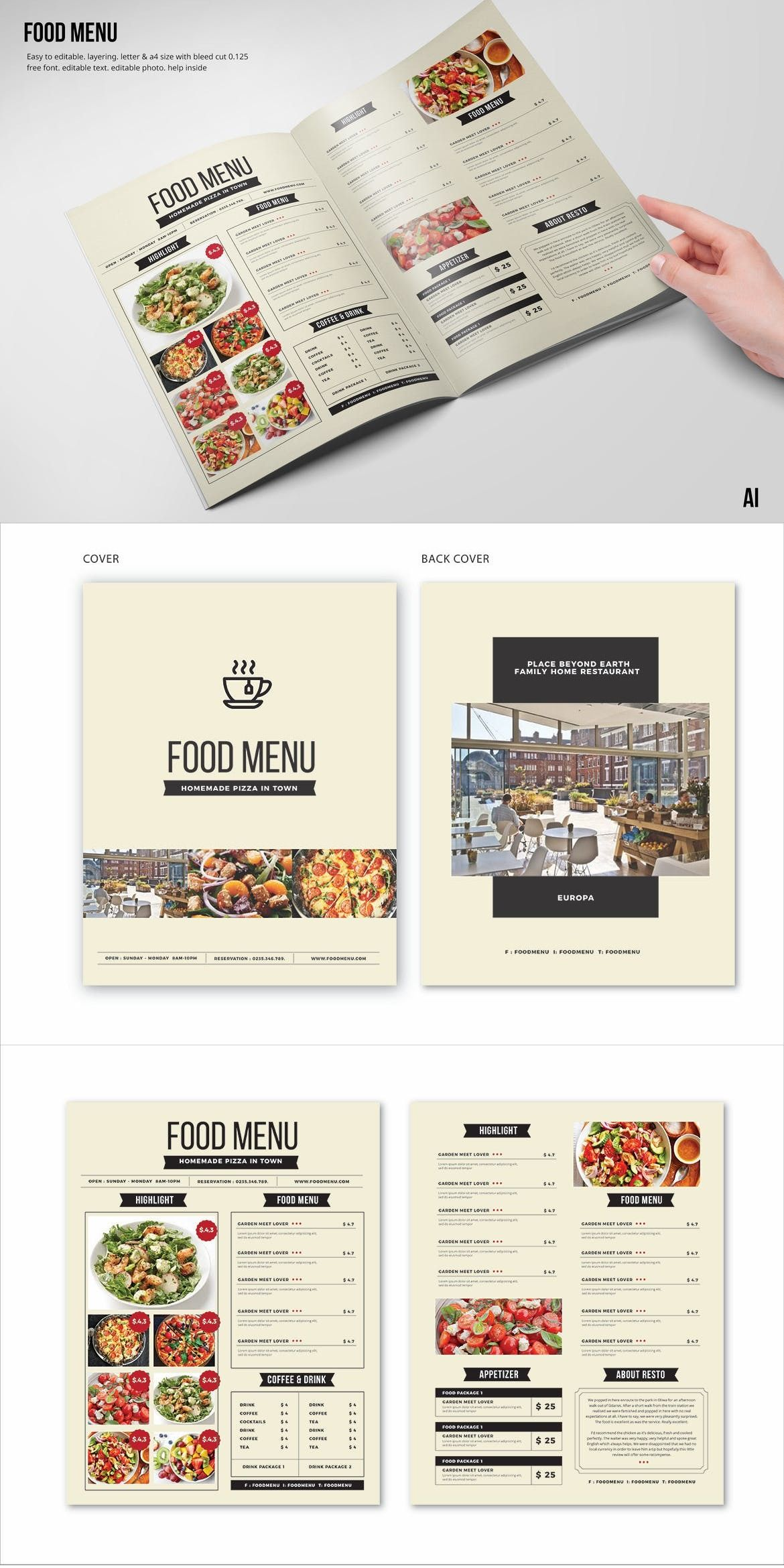 clean fresh a4 us letter food menu template adobe illustrator