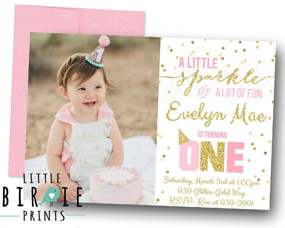 GOLD AND PINK Invitation First Birthday Sparkle Gold Confetti Glitter