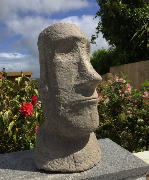 Elegant Large Easter Island Head Stone Garden Statue By CornwallStoneware