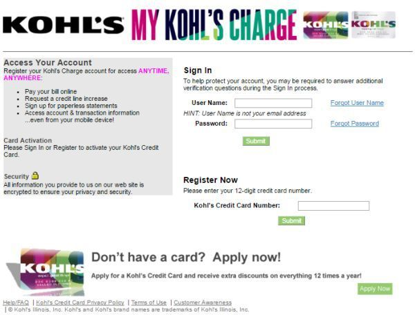 Credit Kohls Com Kohl S Credit Card Login To Pay Bills Online View Paperless Statements Accounting Credit Card Statement