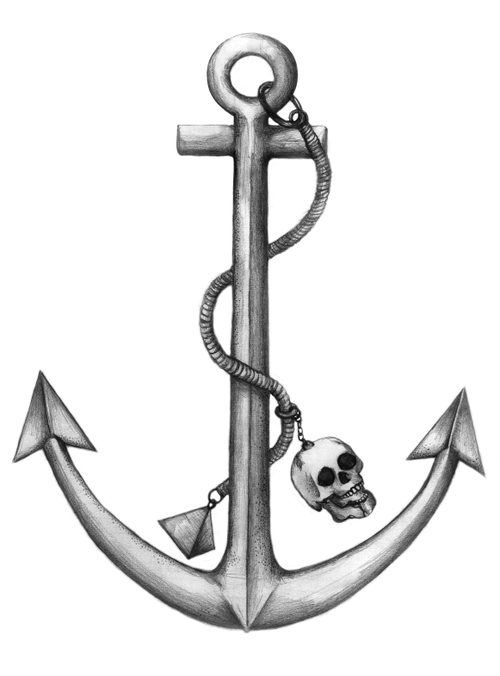 2b5e7975fcc3 Anchor drawing with rope and skull. Photo from www.tylerhillart.com ...