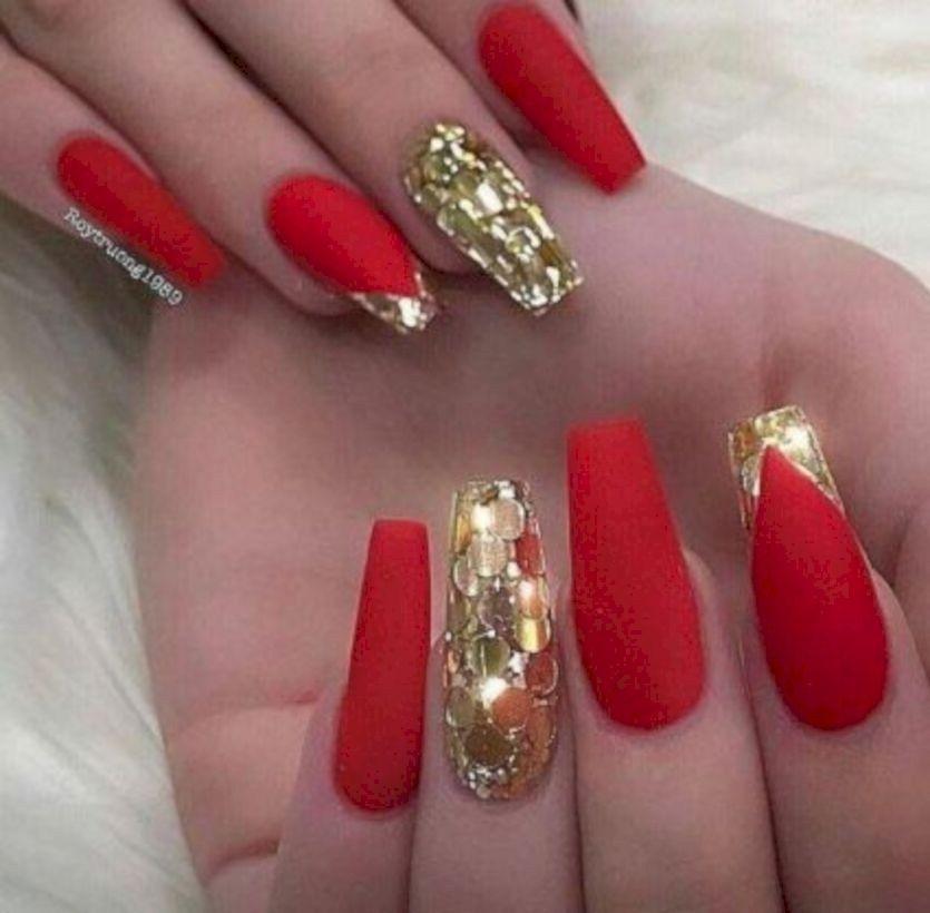Unusual Acrylic Nail Designs Ideas 22 Gold Nail Designs Red And Gold Nails Red Acrylic Nails