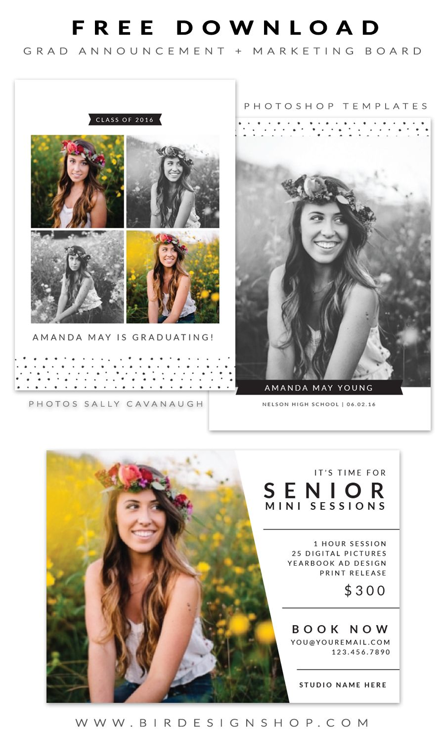 free grad announcement and marketing board photoshop templates for photographers by birdesign