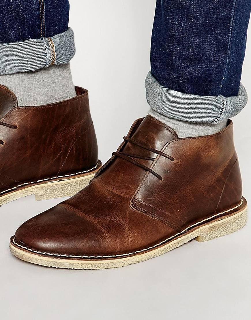 ASOS - Desert boots en cuir - Marron at asos.com. BottinesCuirChaussureMode  En LigneMarronsFringuesHommesHommes Chaussures BottesBottes De Chaussures