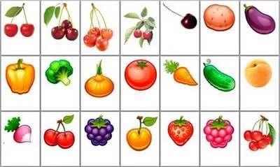 шаблоны для игр с детьми овощи и фрукты: 25 тыс ...