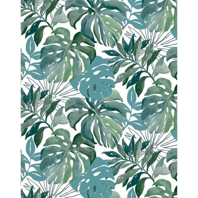 Papier peint vinyle marqué à chaud Jungle aquarelle vert #junglepattern